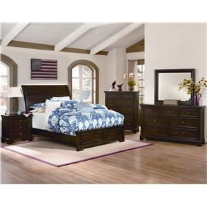 Vaughan Bassett Hanover Queen Sleigh Storage Bed w/ Low Profile Footboard