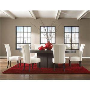 Canadel High Style - Custom Dining Contemporary Customizable Oval Table with Pedestal Set