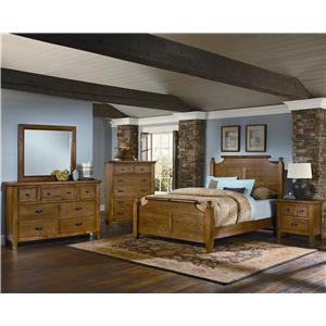 Vaughan Bassett Timber Mill Queen-Size Wood Timber Panel Bed With Reclaimed Look