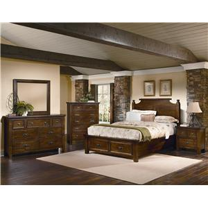 Vaughan Bassett Timber Mill Queen Poster Bed With Storage Drawers and Reclaimed Wood Look