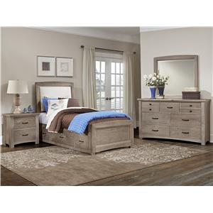 Vaughan Bassett Transitions Full Upholstered Bed, Base Cloth Linen