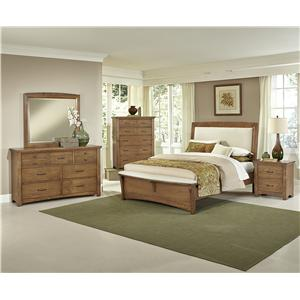 Vaughan Bassett Transitions King Upholstered Bed, Base Cloth Linen