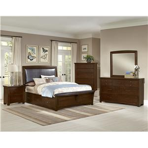 Vaughan Bassett Transitions Twin Upholstered Bed, Chocolate Bonded Leather