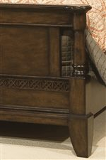 Intricate Fret Work Motif and Paneled Design on Footboard