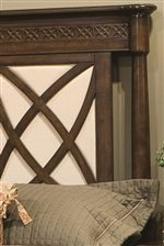 Larger Version of Intricate Fretwork Motif on Headboard with Cream Colored Upholstery Backdrop