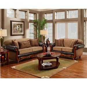 Washington Furniture 1030 Radar Mocha Traditional Two-Tone Rolled Arm Loveseat with Wood Trim