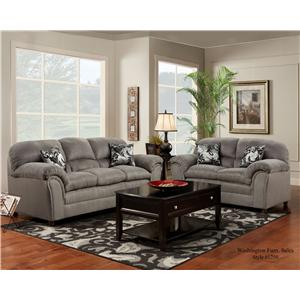 Washington Furniture 1250 Casual Stationary Sofa with Pillow Top Armrests
