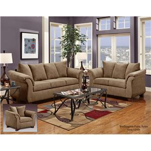 Washington Furniture 2000 Two-Seat Loveseat with Flared Armrests