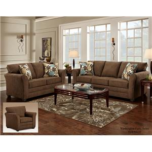 Washington Furniture Council Fudge Casual Sofa with Flared Track Arms