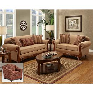 Washington Furniture Key West Umber Transitional Rolled Arm Sofa