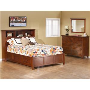 Whittier Wood McKenzie Queen Bookcase Storage Bed