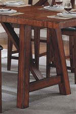 Trestle Table Contains Slanted Legs