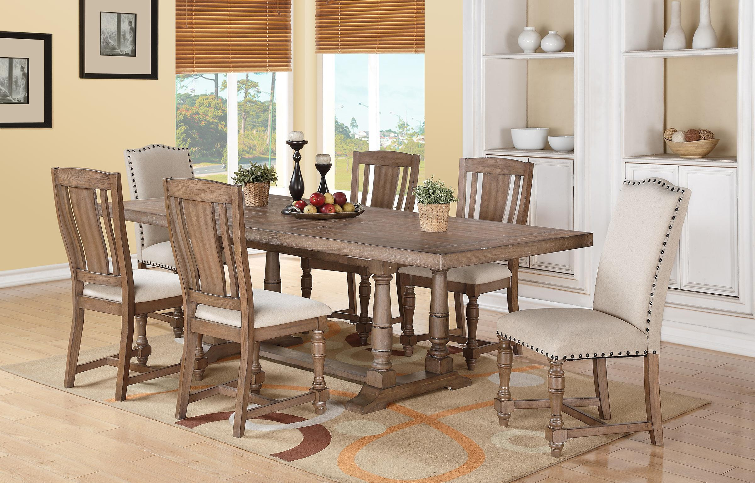 Xcalibur 7 Piece Trestle Table and Upholstered Chair Set Rotmans