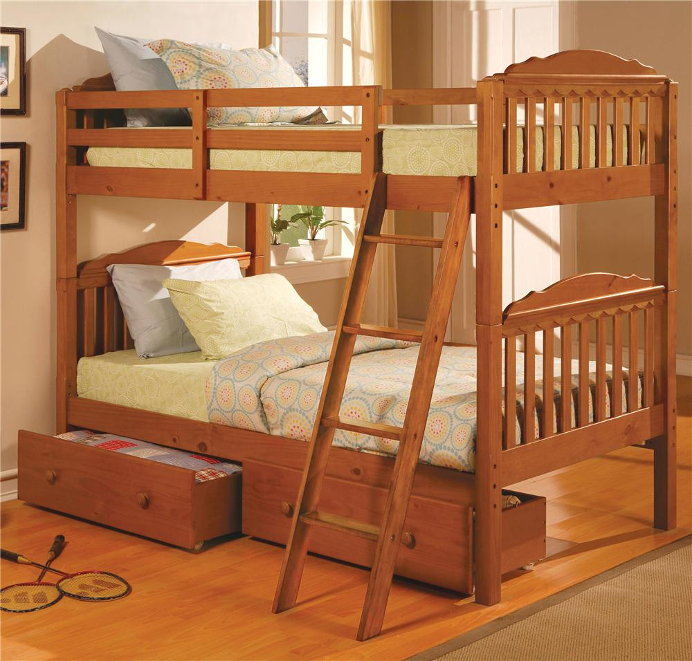 woodcrest pine ridge square post twin over twin size bunk bed - l
