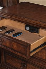 Felt-Lined Charge Drawer in Nightstand Supports Modern Function