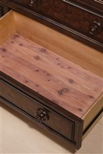 Cedar-Lined Bottom Drawers in Each Storage Piece