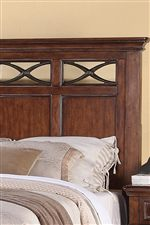 Metal Crisscross Detailing Showcased on Beds and Dresser Mirror