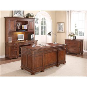 Flexsteel Wynwood Collection American Heritage L-Shaped Desk with 2 Locking File Drawers