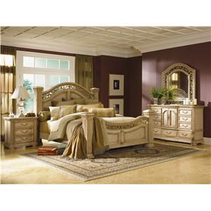 Flexsteel Wynwood Collection Antiguo Blanco Queen Bedroom Group