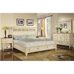 Flexsteel Wynwood Collection Garden Walk Queen Panel Headboard Bed with Storage Footboard