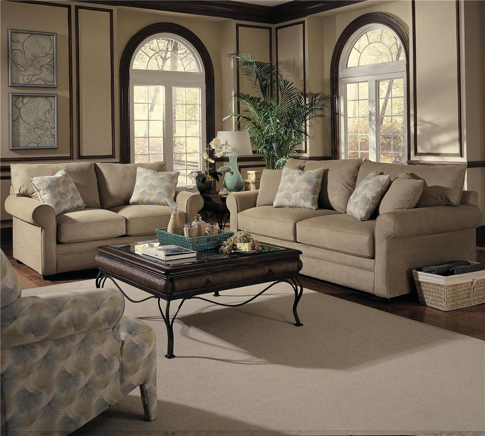 Comfy Stationary Living Room Group by Klaussner at Johnny Janosik