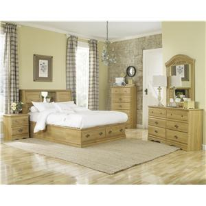 Lang Oak Creek 2 Drawer King Bookcase Bed Bedroom Group