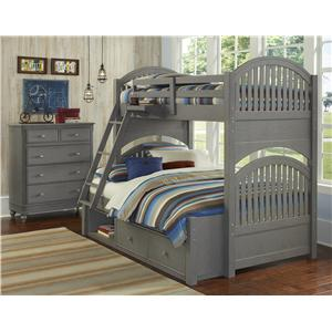 NE Kids Lake House Twin Over Full Storage Bunk Bed