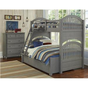 NE Kids Lake House Twin Over Full Trundle Bunk Bed