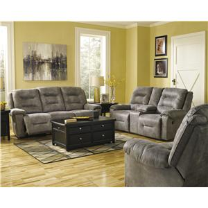 Signature Design by Ashley Rotation - Smoke Reclining Living Room Group