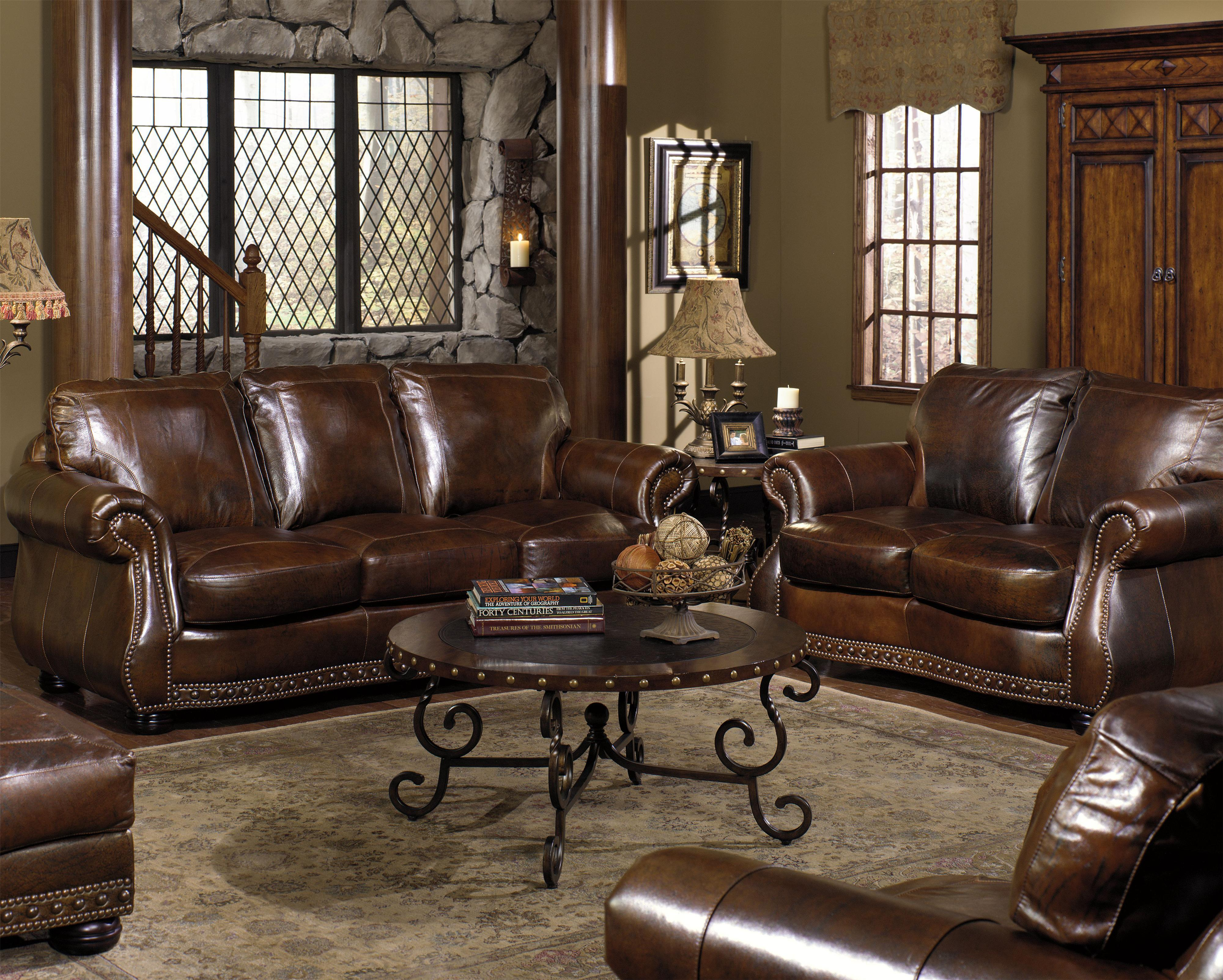 8755 Stationary Living Room Group by USA Premium Leather at Dream Home Interiors