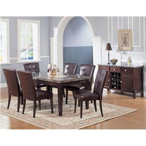 Acme Furniture 7058 Server with Black Marble Top and Wine