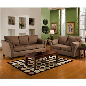 Casual l shaped upholstered stationary sectional with rsf for Chaise 7900