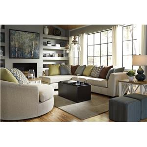 Casheral Round Oversized Swivel Accent Chair with Loose Back