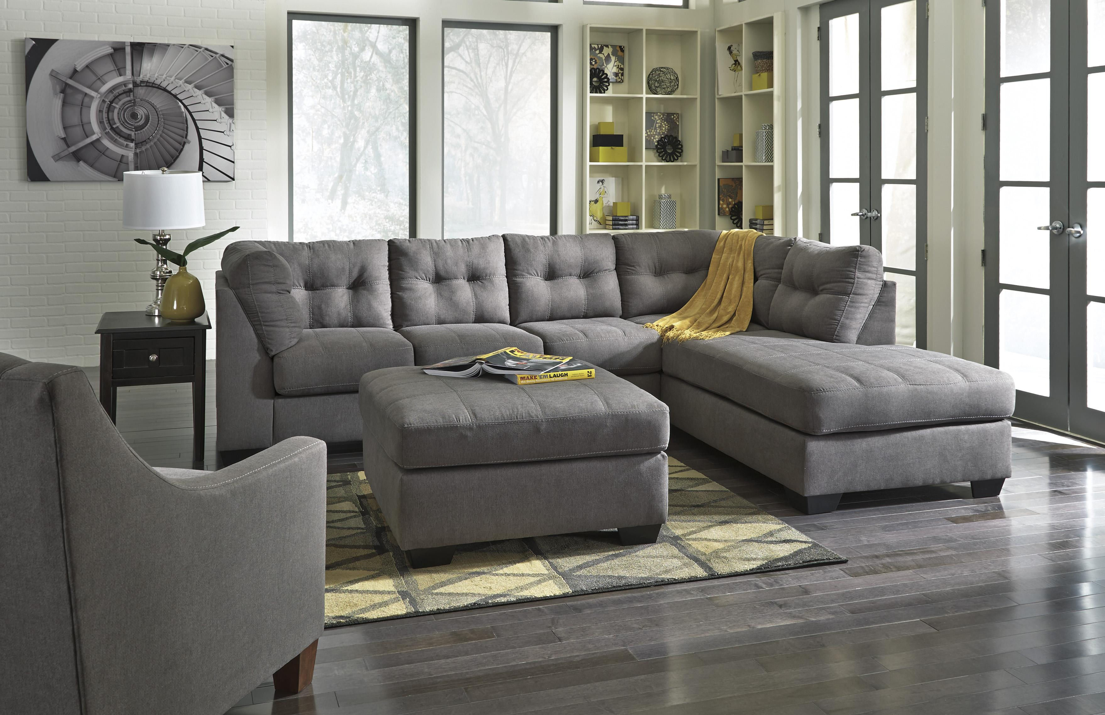 Benchcraft MaierCharcoal 2Piece Sectional with Right Chaise