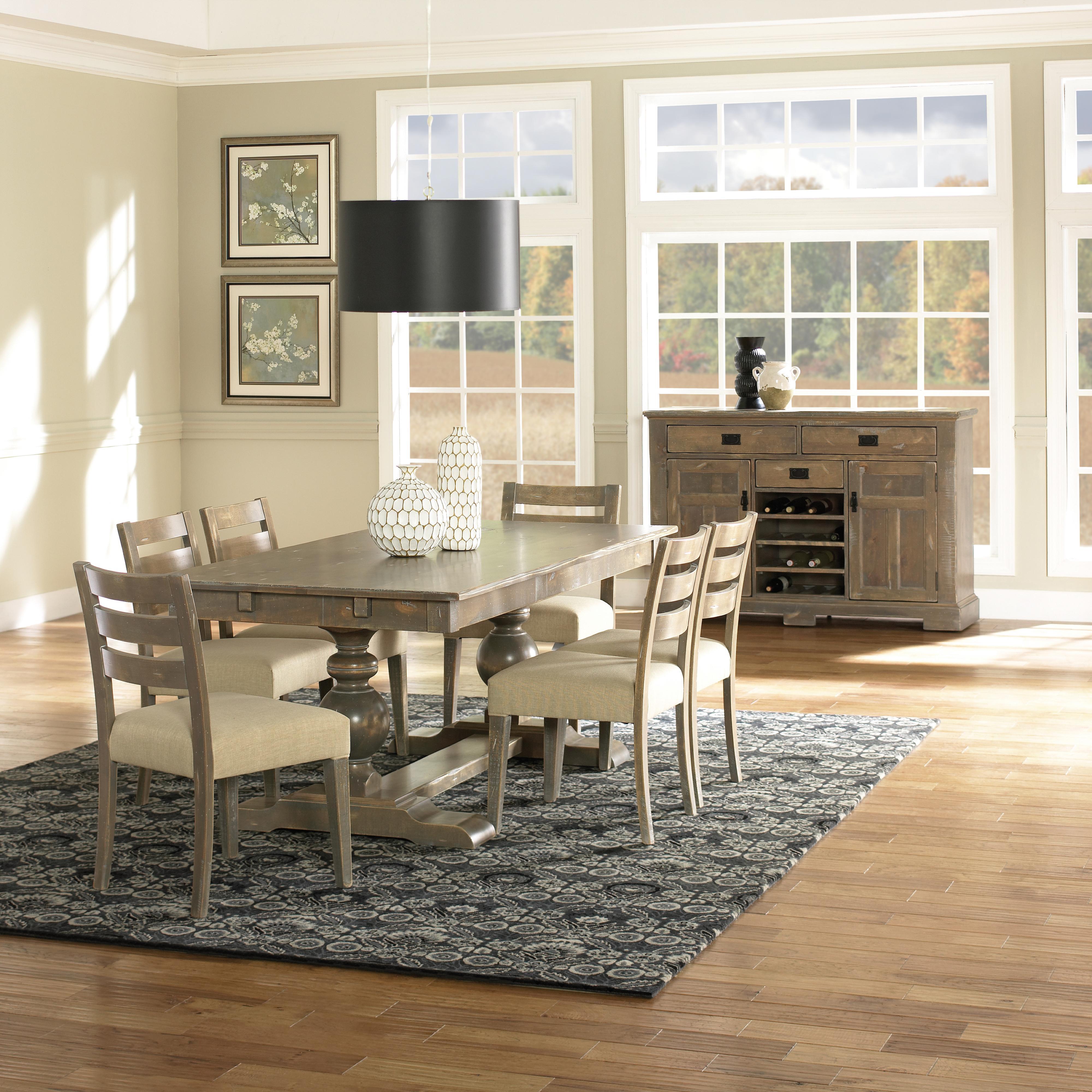 canadel champlain custom dining customizable rectangular table set with trestle base darvin. Black Bedroom Furniture Sets. Home Design Ideas