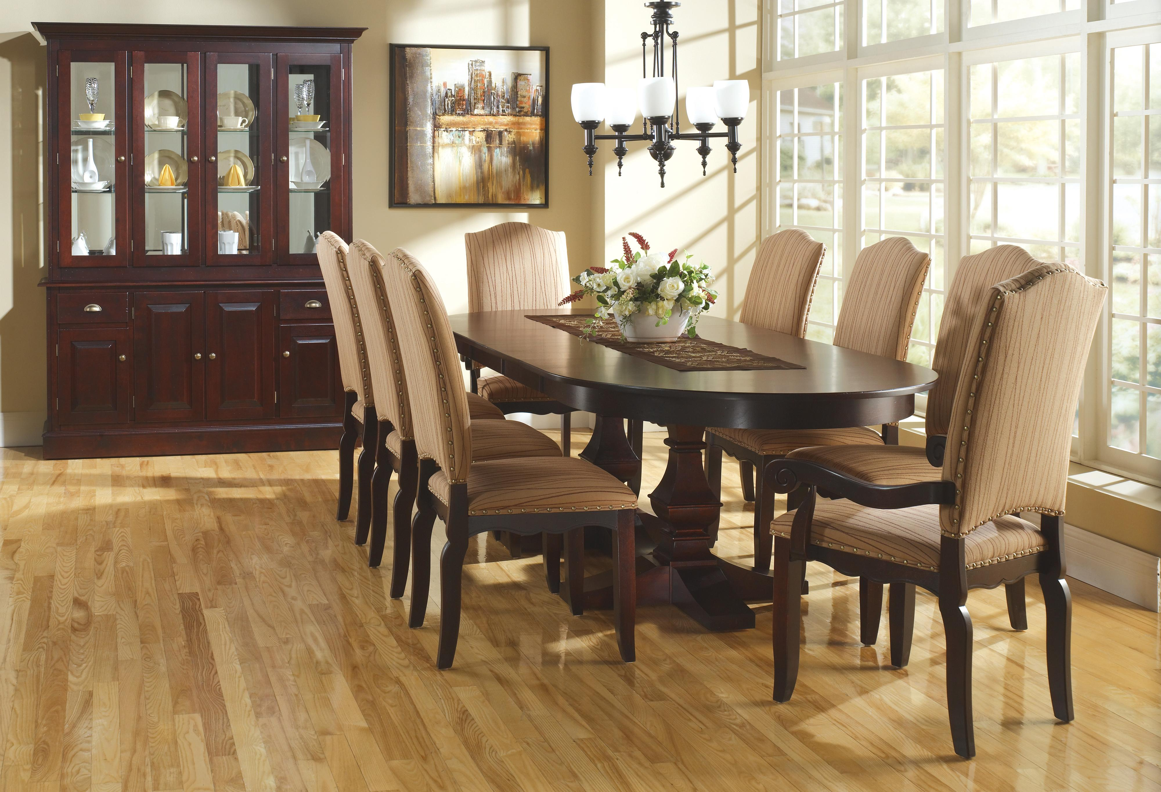 canadel custom dining customizable oval table with leaves pedestal base steger 39 s furniture. Black Bedroom Furniture Sets. Home Design Ideas