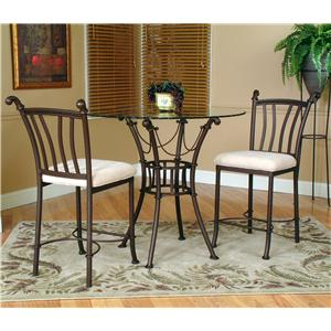 Cramco inc denali 5 piece round glass table with chairs for Dining sets nashville tn