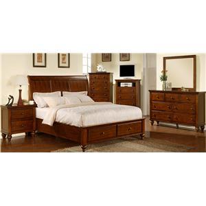 Elements International Chatham Queen Sleigh Bed With Storage Bullard Furniture Sleigh Beds