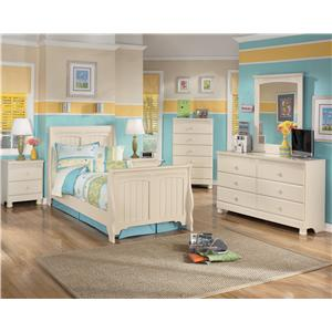 Signature Design By Ashley Cottage Retreat Full Bookcase Bed With Footboard Storage Furniture