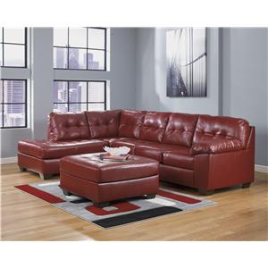 Ashley Signature Design Alliston Durablend Salsa Contemporary Loveseat W Pillow Arms