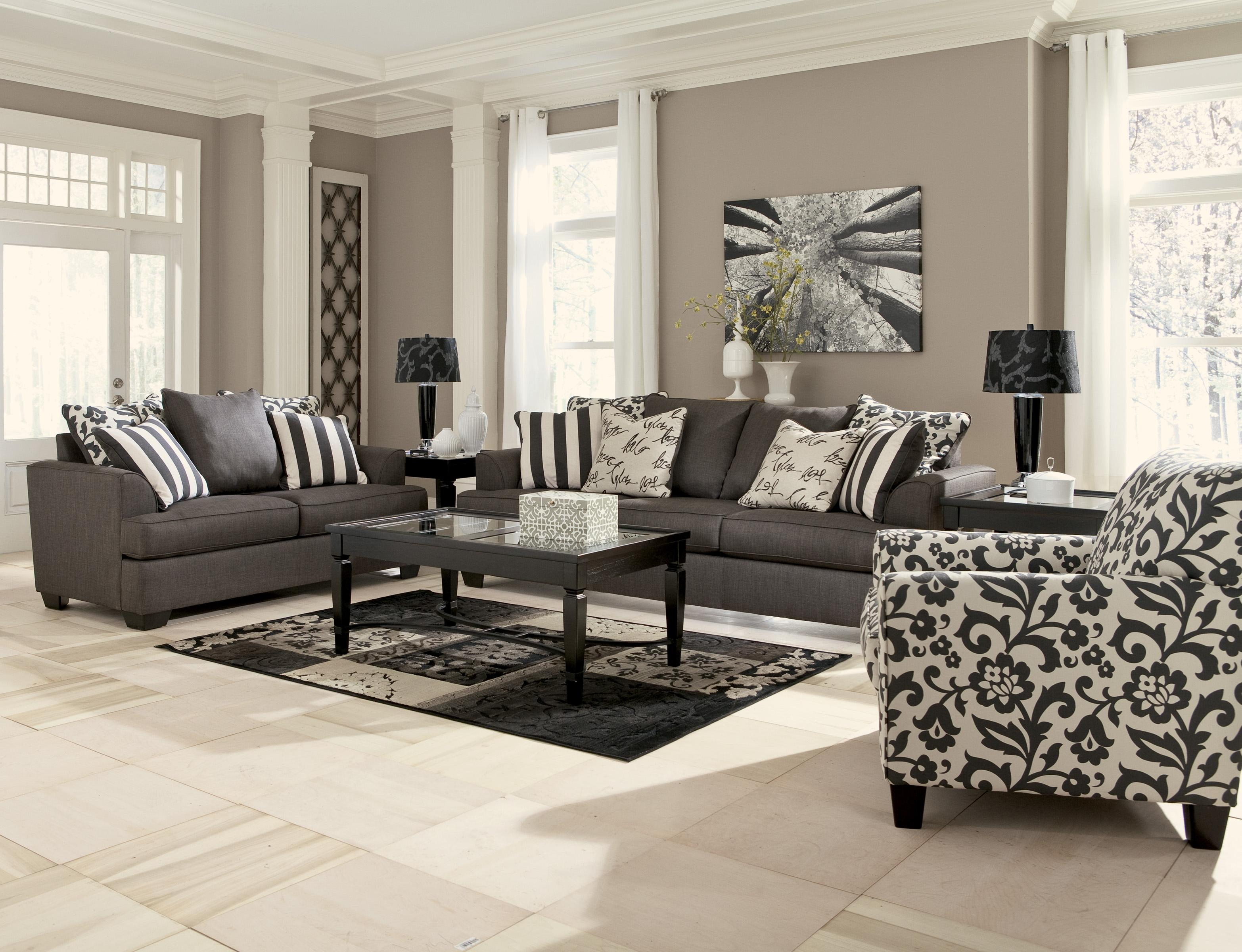Signature Design By Ashley Levon Charcoal Stationary Living Room Group Wa