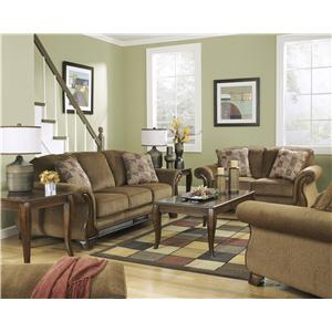 Signature design by ashley montgomery mocha 3830039 queen sofa sleeper northeast factory for Montgomery mocha living room set