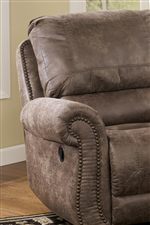 Signature Design By Ashley Oberson Gunsmoke Swivel Glider Recliner With Rolled Arms Nail