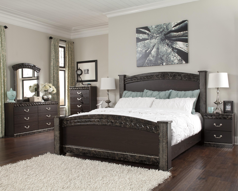Signature design by ashley vachel king bedroom group furniture mart colorado bedroom group for Bedroom furniture stores denver