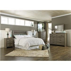 Styleline barnwood k cal k hb drsr mir chest nightstand efo furniture outlet bedroom for Ashley wilkes bedroom collection