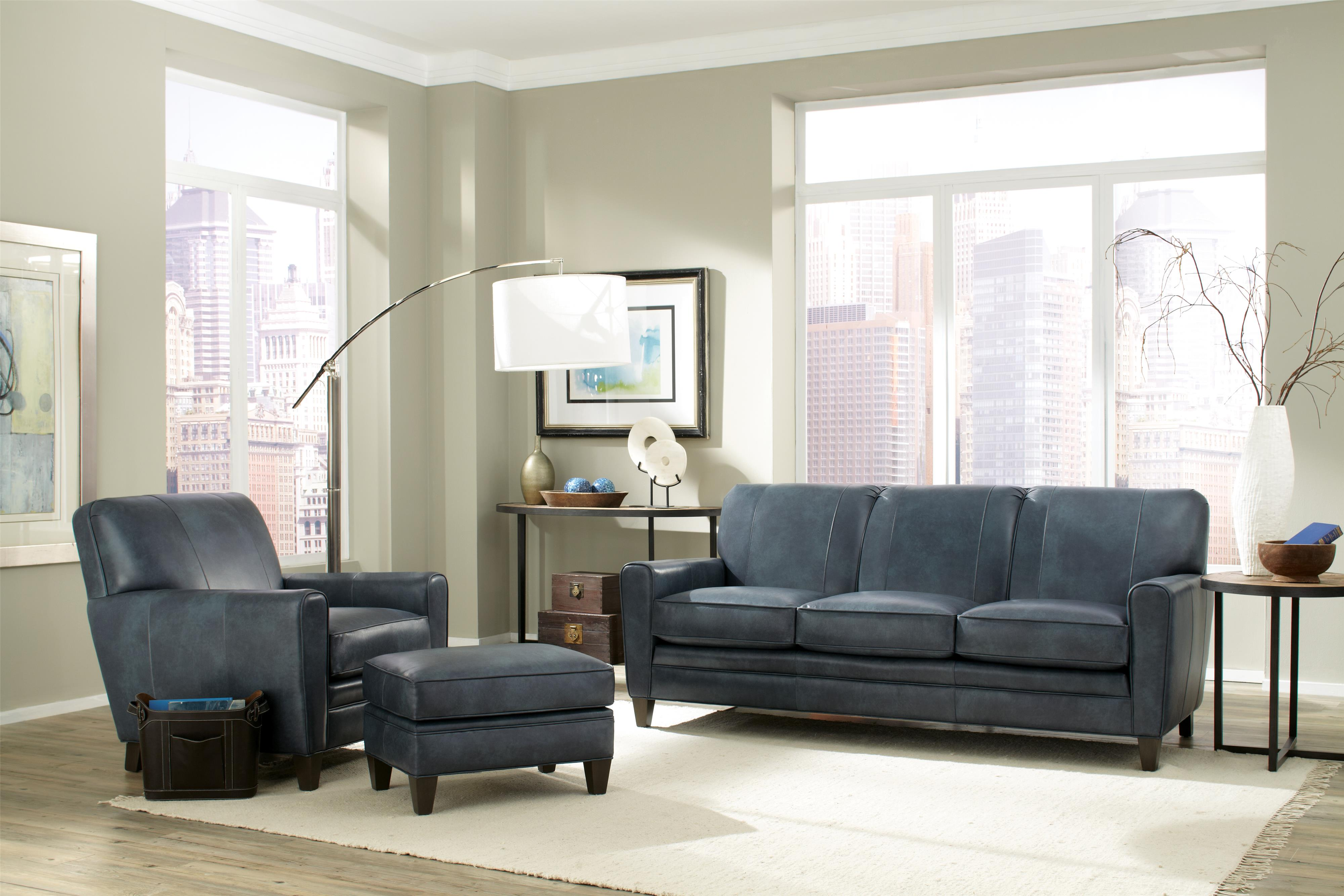 Smith Brothers 225 Leather Stationary Living Room Group Dunk Bright Furniture Stationary