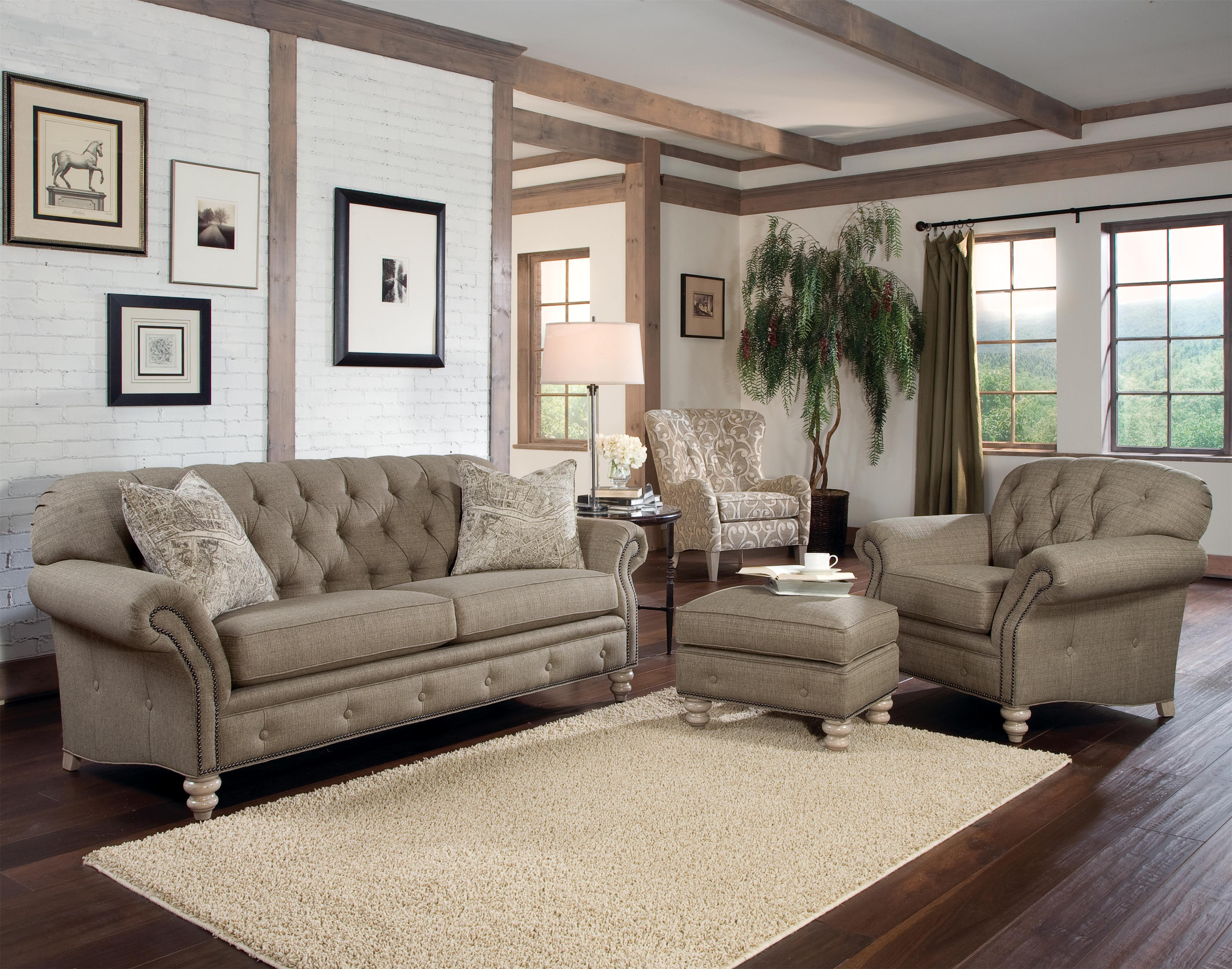 Smith Brothers 396 Traditional ButtonTufted Sofa with Nailhead