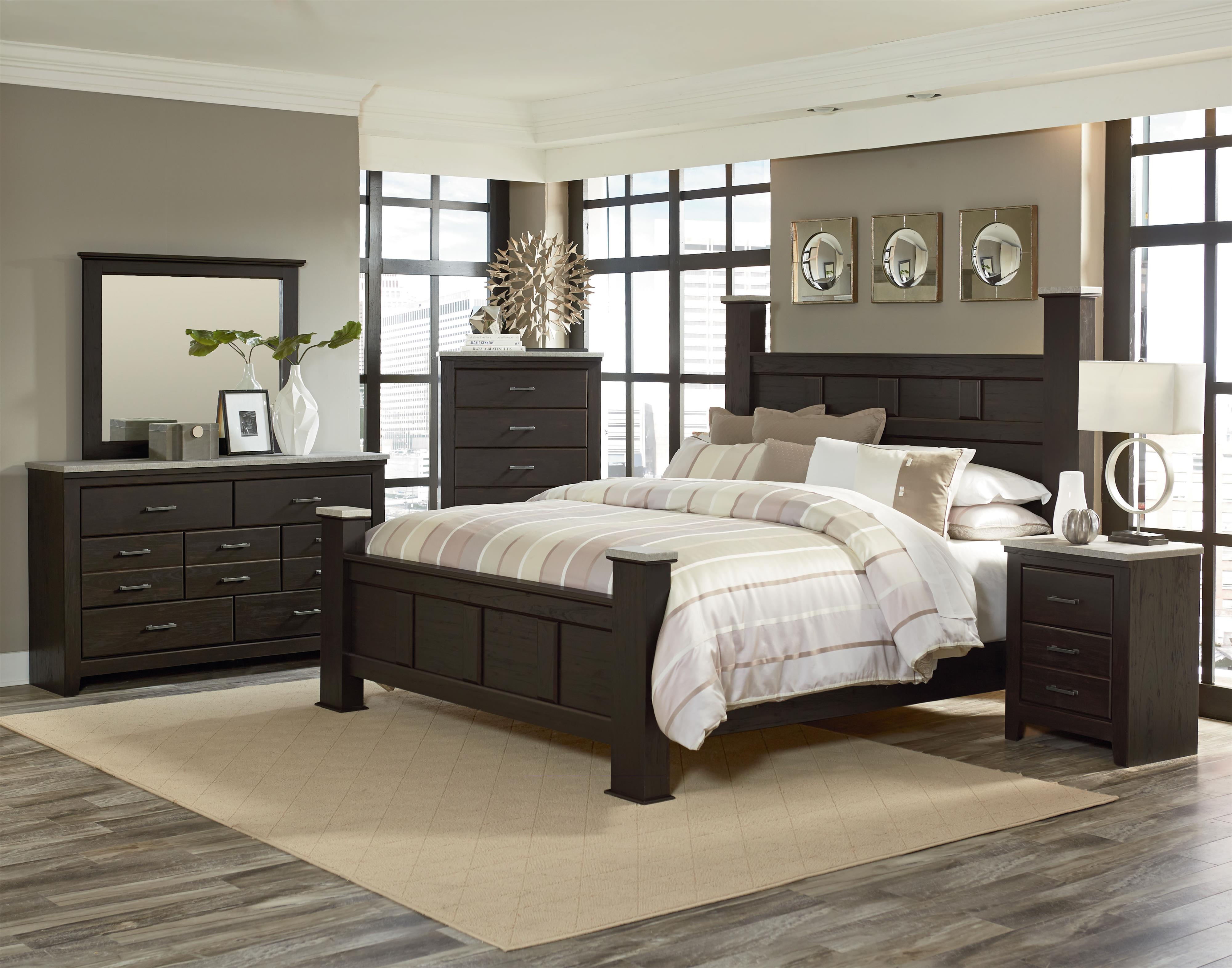 standard furniture stonehill dark queen poster bed with faux