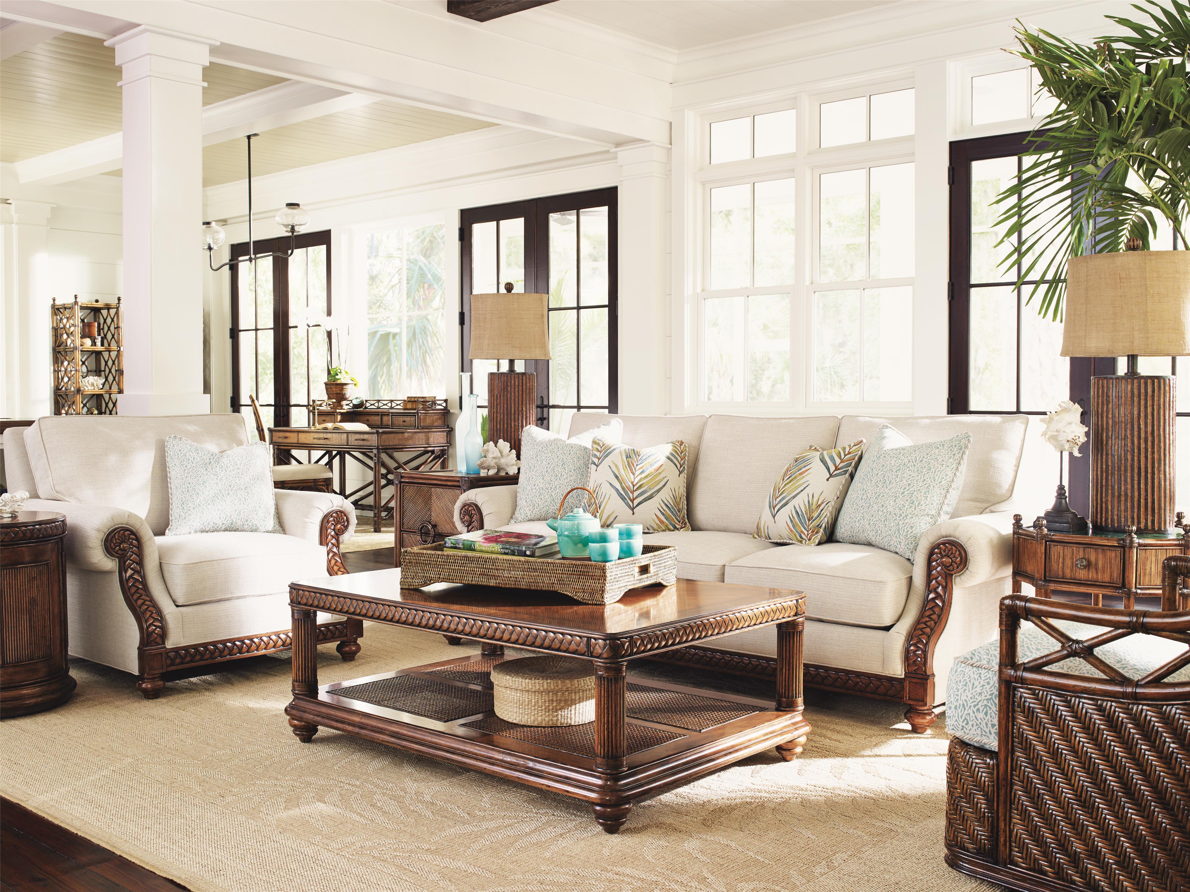 tommy bahama home bali hai stationary living room group baer 39 s furniture stationary living. Black Bedroom Furniture Sets. Home Design Ideas