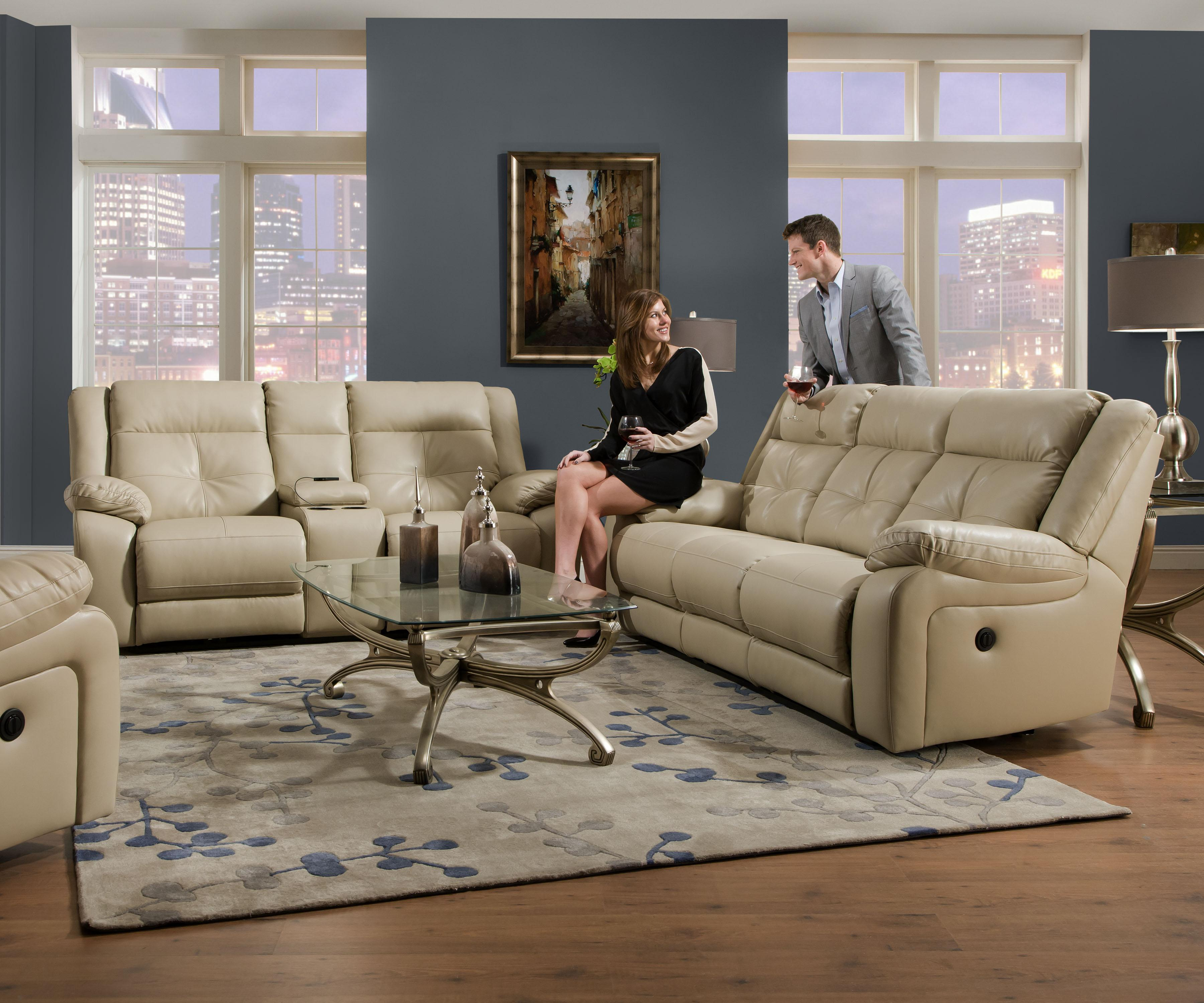 Simmons upholstery 50590 reclining living room group for Living room furniture groups
